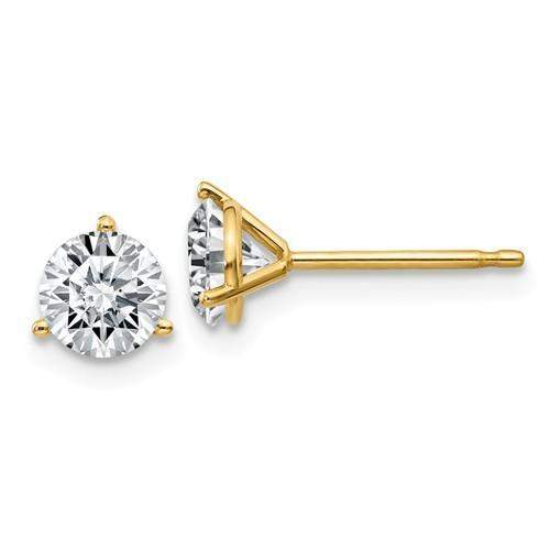 1 CTW Martini Style Moissanite Stud Earrings - 14kt Gold Round Moissanite 3-Prong Earrings-Bel Viaggio Designs