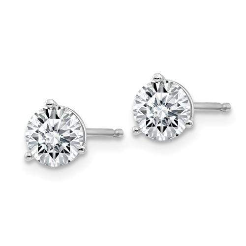 1 CTW Martini Style Moissanite Stud Earrings - 14kt Gold Round Moissanite 3-Prong Earrings-BVD