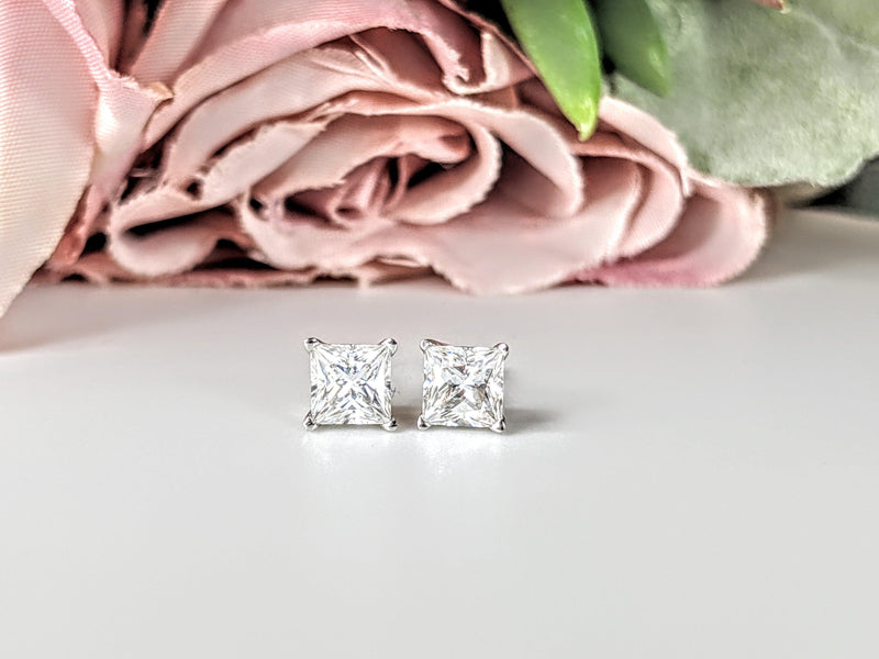 1.20 CTW Princess Cut Moissanite Earrings-Bel Viaggio Designs