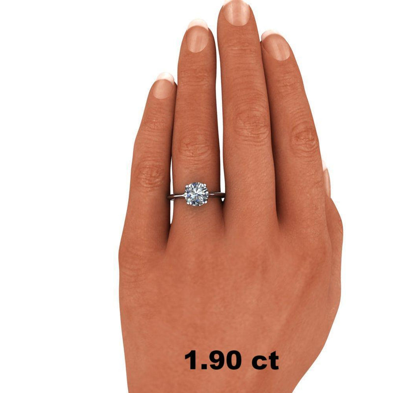 Forever One Moissanite Solitaire Ring Modern Style-Bel Viaggio Designs