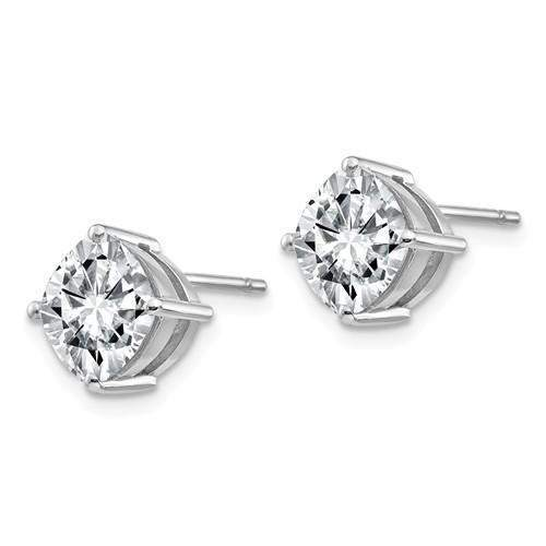 1.00 CTW Cushion Cut Moissanite Earrings - 14kt Gold Moissanite 4-Prong Post Earrings-Bel Viaggio Designs