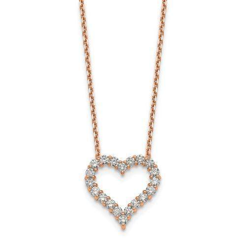 1.00 ctw Lab Grown Diamond Necklace Heart Pendant - 14 kt Gold-Bel Viaggio Designs