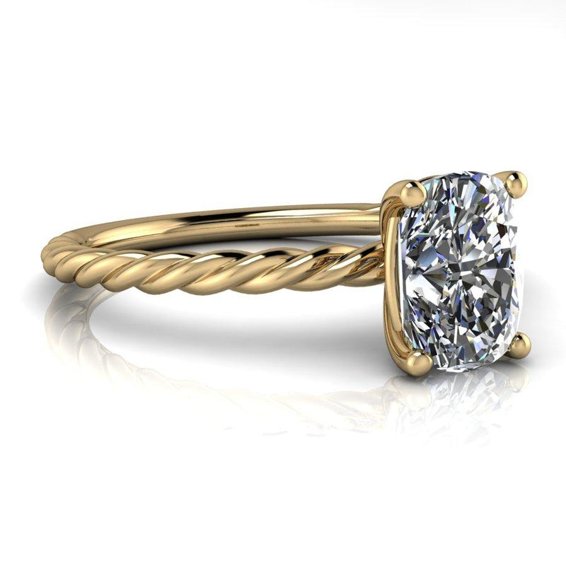 Elongated Cushion Cut Moissanite Engagement Ring, Rope Ring-Bel Viaggio Designs