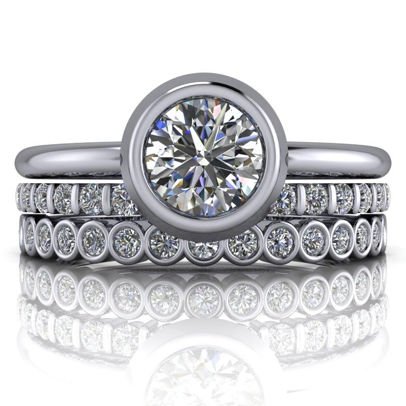 1.00 CTW Forever One Moissanite Engagement Ring, Stacking Rings Set, Insieme Bridal Stackables®-Bel Viaggio Designs