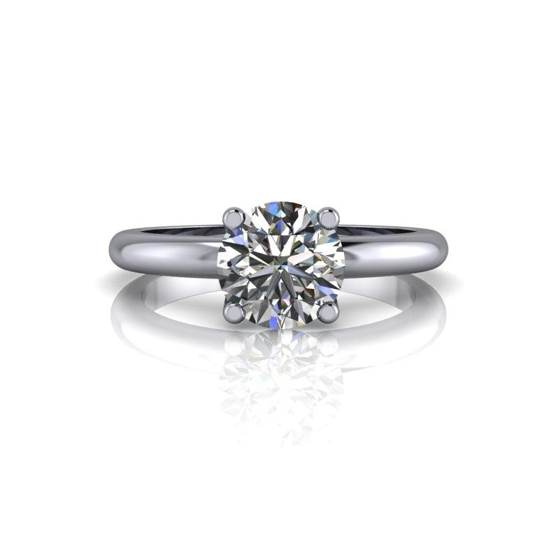 Forever One Moissanite Simple Solitaire Engagement Ring-Bel Viaggio Designs