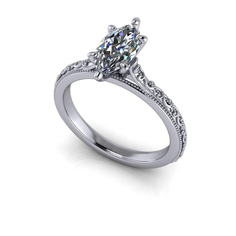 1.00 CTW Marquise Colorless Moissanite Sculptural Inspired Engagement Ring-Bel Viaggio Designs