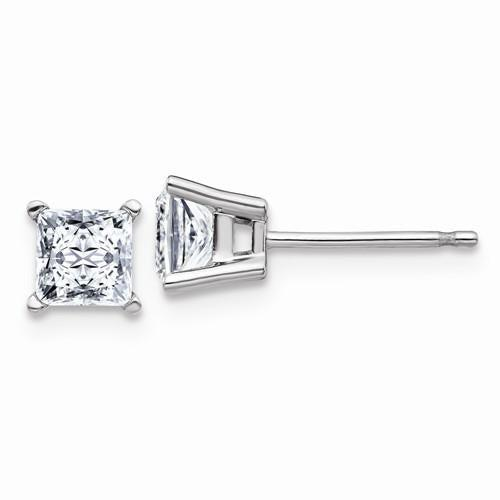 1.00 CTW Princess Cut Moissanite Earrings, DEF Color-Bel Viaggio Designs