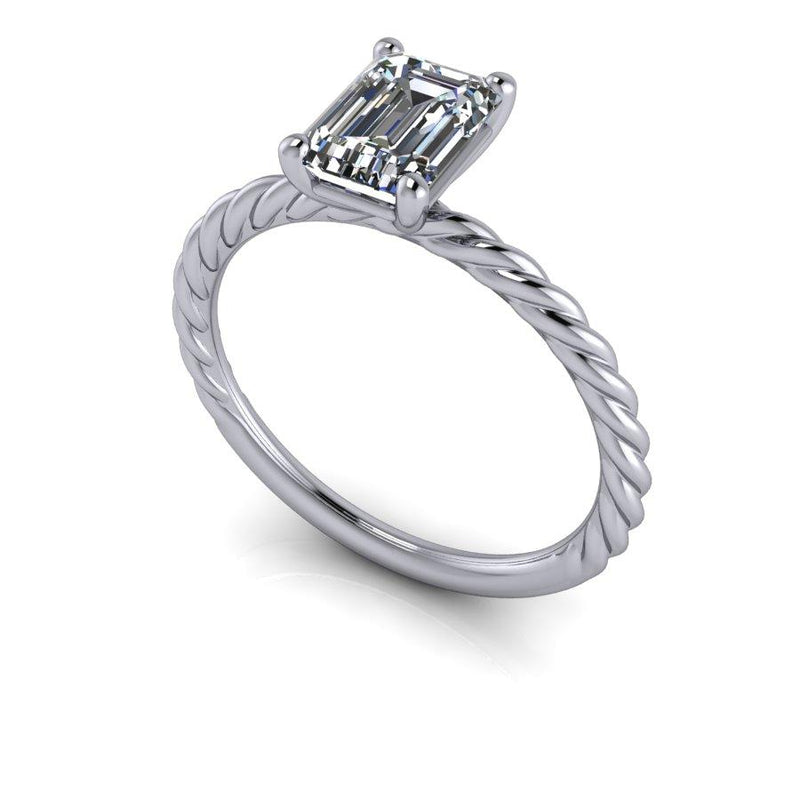 Emerald Cut Moissanite Engagement Ring Rope Style-Bel Viaggio Designs