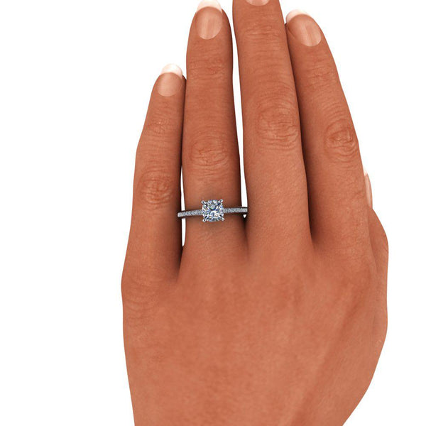 1.32 CTW Cushion Cut Charles & Colvard Moissanite Diamond Engagement Ring-Bel Viaggio Designs