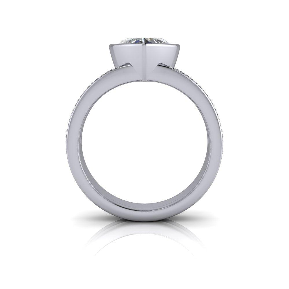 1.00 CTW Round Forever One Moissanite Engagement Ring, Woven Shank, Center Stone Options-Bel Viaggio Designs, LLC