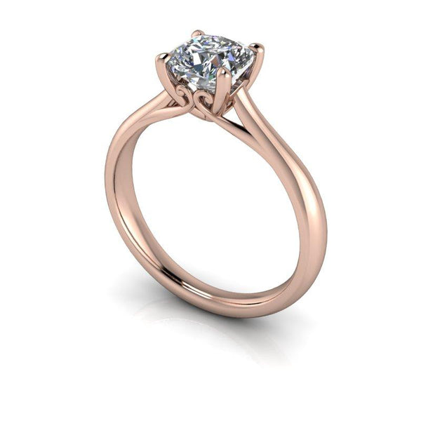 1.10 CTW Cushion Cut Colorless Moissanite Solitaire Engagement Ring, Center Stone Options-BVD