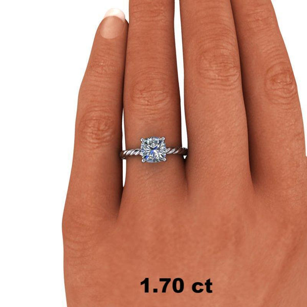1.10 CTW Cushion Cut Forever One Moissanite Bridal Set, Center Stone Options-Bel Viaggio Designs