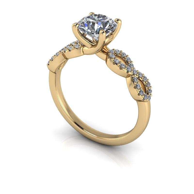 1.18 CTW Round Hearts & Arrows Moissanite Engagement Ring-Bel Viaggio Designs