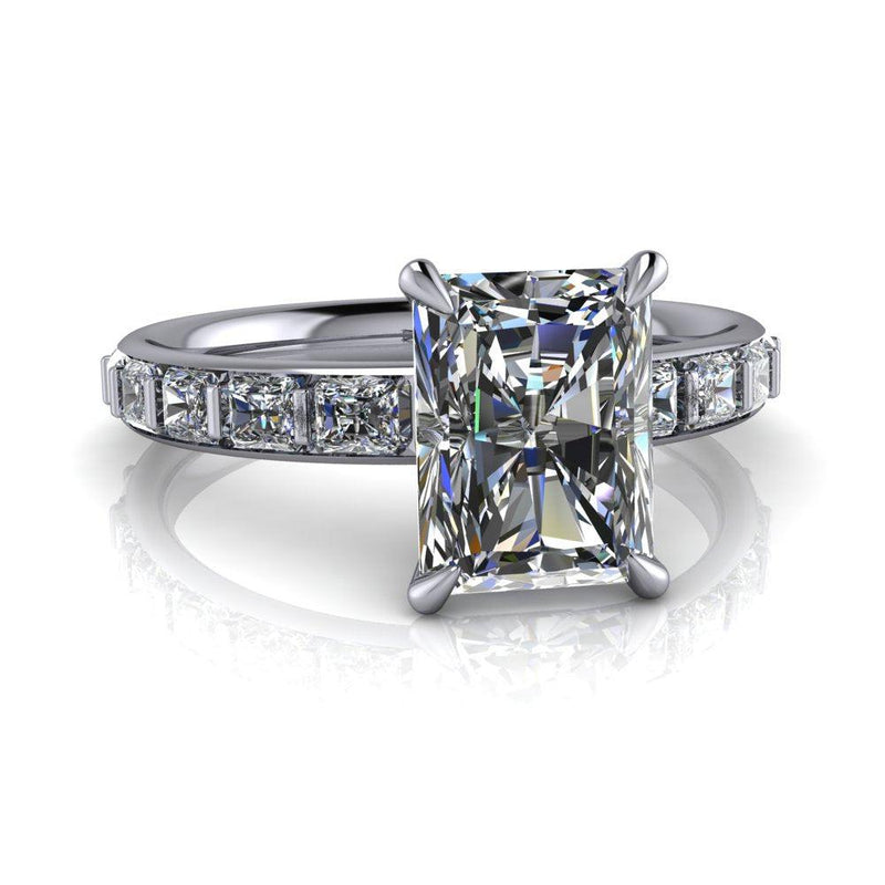 2.60 ctw Radiant Cut Moissanite & Radiant Diamonds Engagement Ring-Bel Viaggio Designs