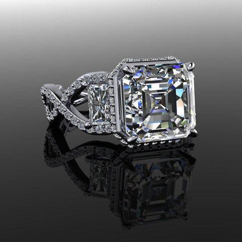 Asscher & Radiant Cut Three Stone Engagement Ring 4.17 CTW-Bel Viaggio Designs