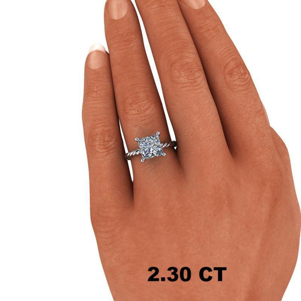 Princess Cut Forever One Moissanite Engagement Ring, Center Stone Options-Bel Viaggio Designs