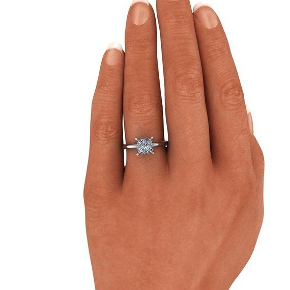 Princess Cut Forever One Moissanite Solitaire Engagement Ring-Bel Viaggio Designs