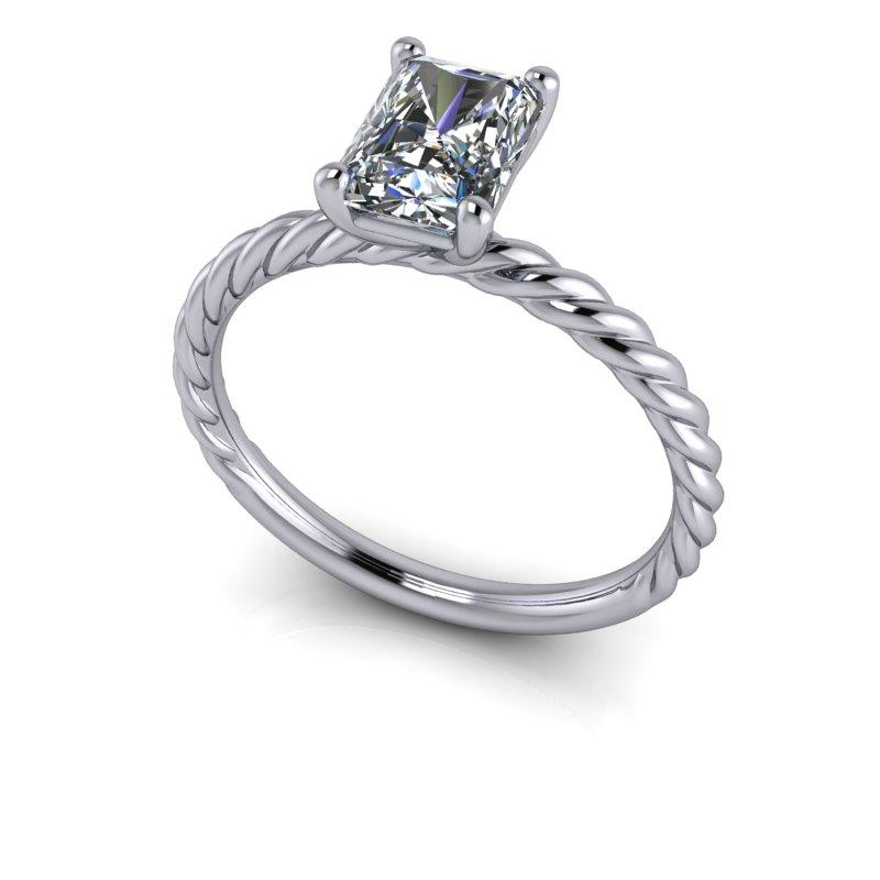 Radiant Cut Colorless Moissanite Engagement Ring, Center Stone Options-Bel Viaggio Designs