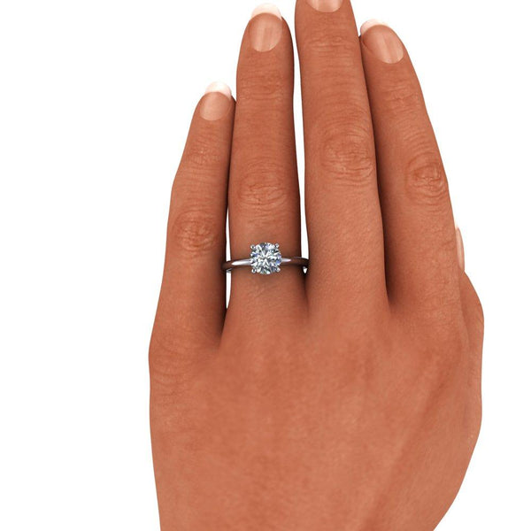 1.25 CTW Classic Round Solitaire Engagement Ring High Set Moissanite Ring-Bel Viaggio Designs