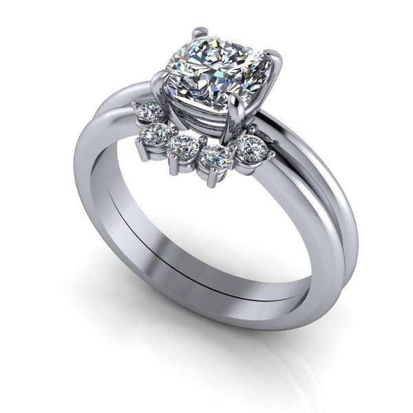1.25 ctw Cushion Cut Colorless Moissanite Engagement Ring/Bridal Set-Bel Viaggio Designs
