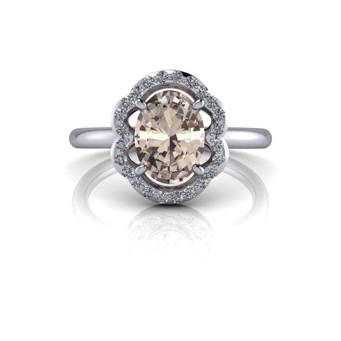 1.25 ctw Morganite Vintage Style Diamond Halo Engagement Ring-Bel Viaggio Designs