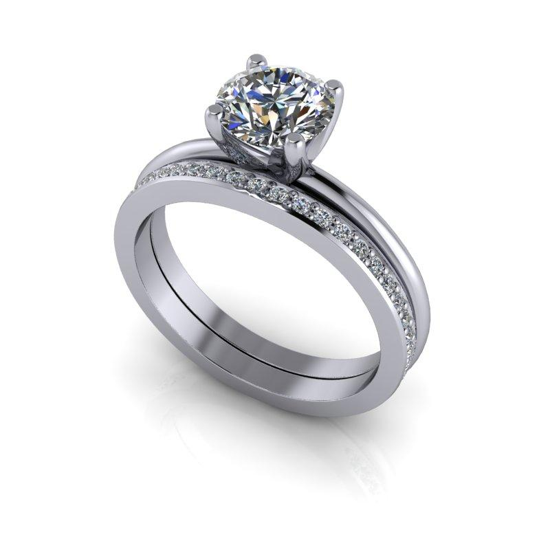 1.27 CTW Round Hearts & Arrows Moissanite Engagement Ring/Bridal Set-Bel Viaggio Designs