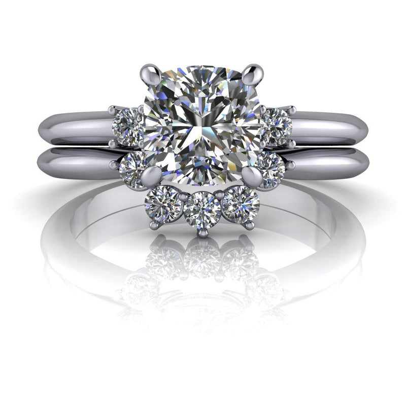 1.31 ctw Cushion Cut Colorless Moissanite Engagement Ring/Bridal Set-Bel Viaggio Designs