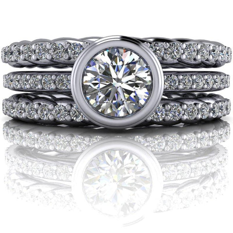 1.31 CTW Forever One Moissanite and Lab Grown Diamond Bridal Ste-Bel Viaggio Designs