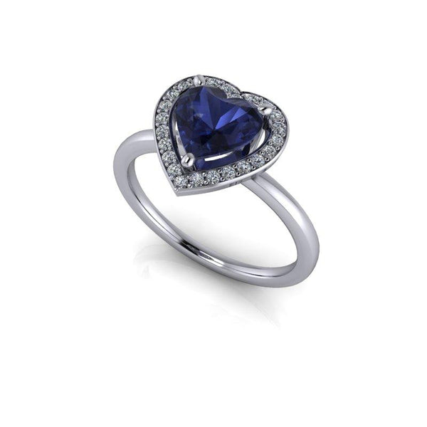 1.33 CTW Heart Shape Engagement Ring, Iolite and Diamonds-Bel Viaggio Designs