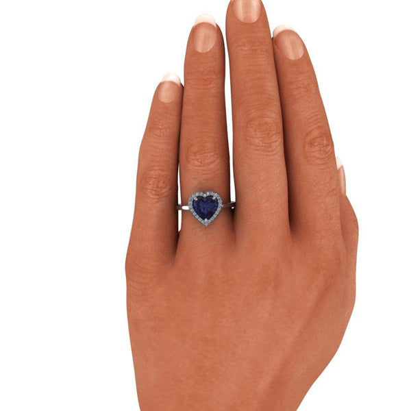 1.33 CTW Heart Shape Engagement Ring, Iolite and Diamonds-BVD