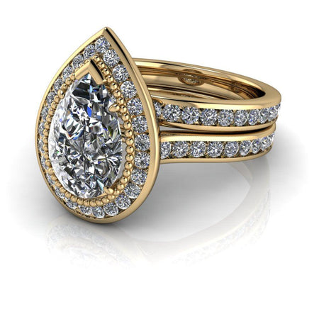 4.82 ctw Pear Colorless Moissanite & Diamond Halo Engagement Ring Bridal Set-Bel Viaggio Designs