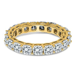 14 kt Gold Cushion Cut Moissanite Eternity Band 4.18 CTW-Celestial Premier-Bel Viaggio Designs-Bel Viaggio®