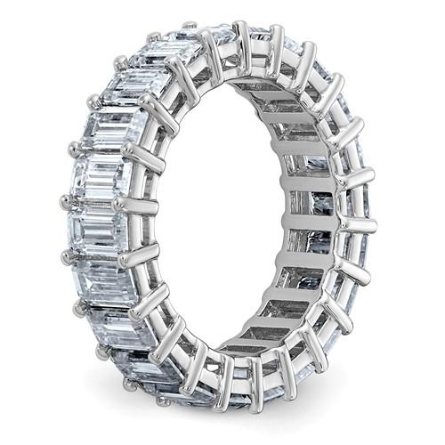 14 kt Gold Emerald Cut Moissanite Eternity Band 6.60 CTW-Bel Viaggio Designs