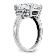 14 kt Gold Radiant Cut Moissanite Three Stone Ring 3.91 CTW-Celestial Premier-Bel Viaggio Designs-14 kt white gold-Bel Viaggio®