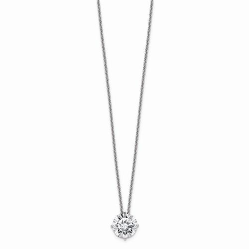 14 kt Gold Round Solitaire Pendant 1.90 ct, Moissanite Necklace-Bel Viaggio Designs