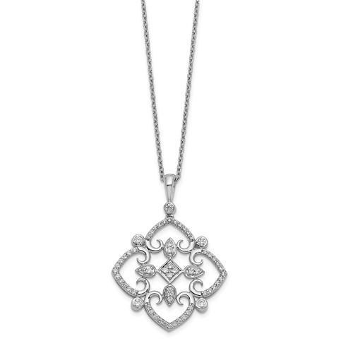 14 kt White Gold Vintage Style Diamond Necklace .50 ctw-Bel Viaggio Designs