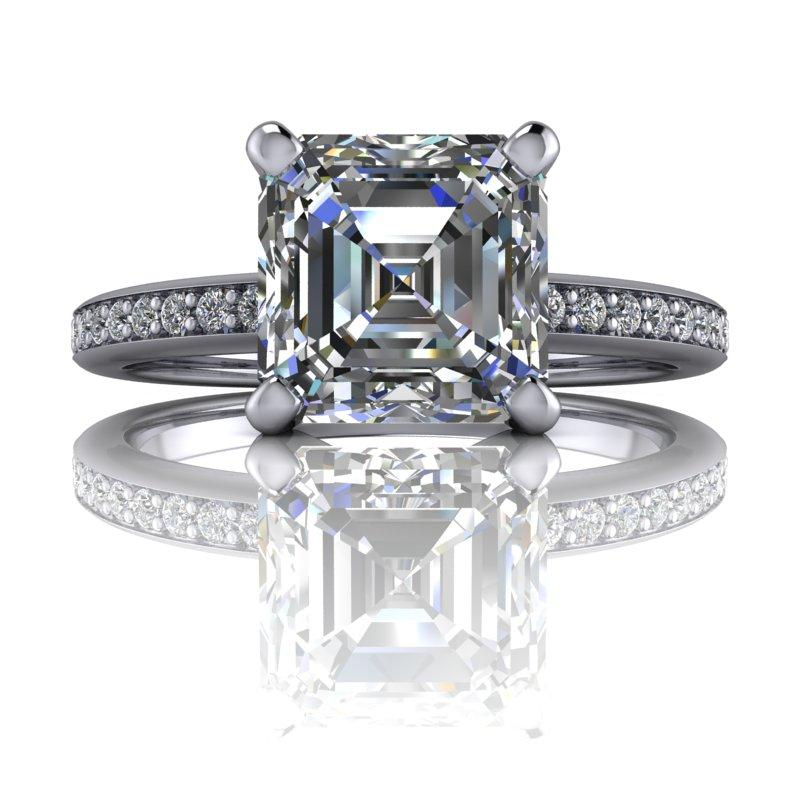 1.42 CTW Asscher Cut Forever One Moissanite Engagement Ring, Center Stone Options-Bel Viaggio Designs, LLC