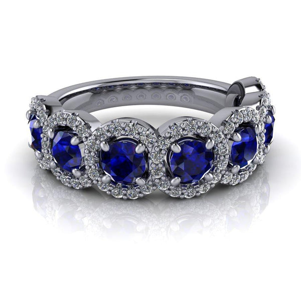 1.45 ctw Sapphire & Lab Grown Diamond Anniversary Ring-Bel Viaggio Designs