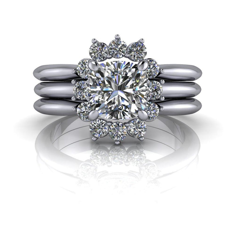 1.46 ctw Cushion Cut Colorless Moissanite Engagement Ring/Bridal Set-Bel Viaggio Designs