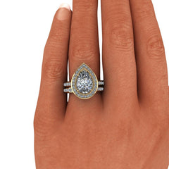 2.55 CTW Moissanite Bridal Set, Elongated Cushion Cut Engagement Ring-BVD