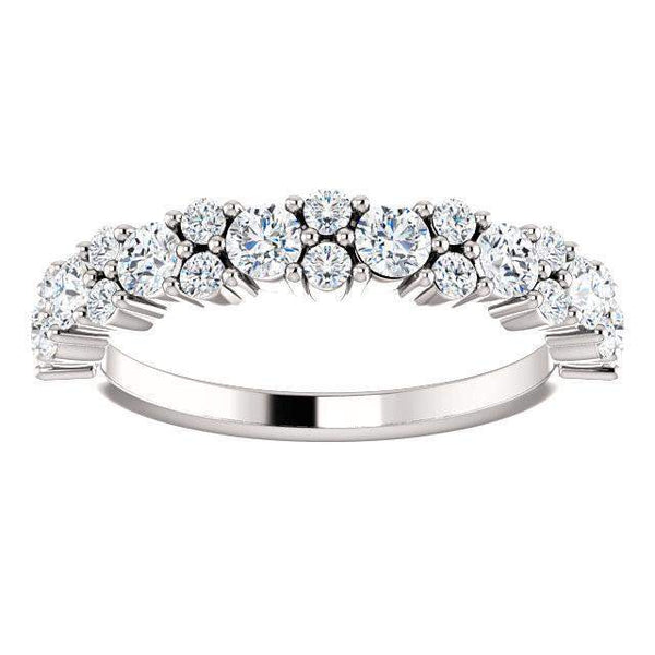 14K White Gold 9/10 CTW Lab Grown Diamond Anniversary Band-Bel Viaggio Designs