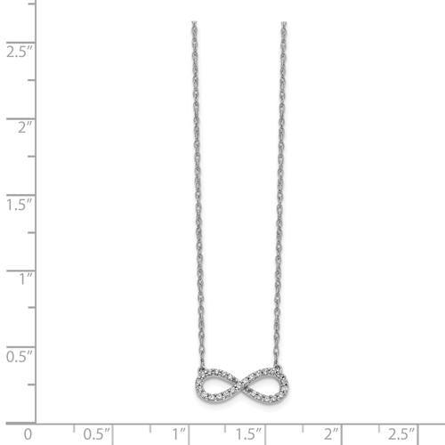 14k White Gold Diamond Infinity Necklace .15 ctw-Bel Viaggio Designs