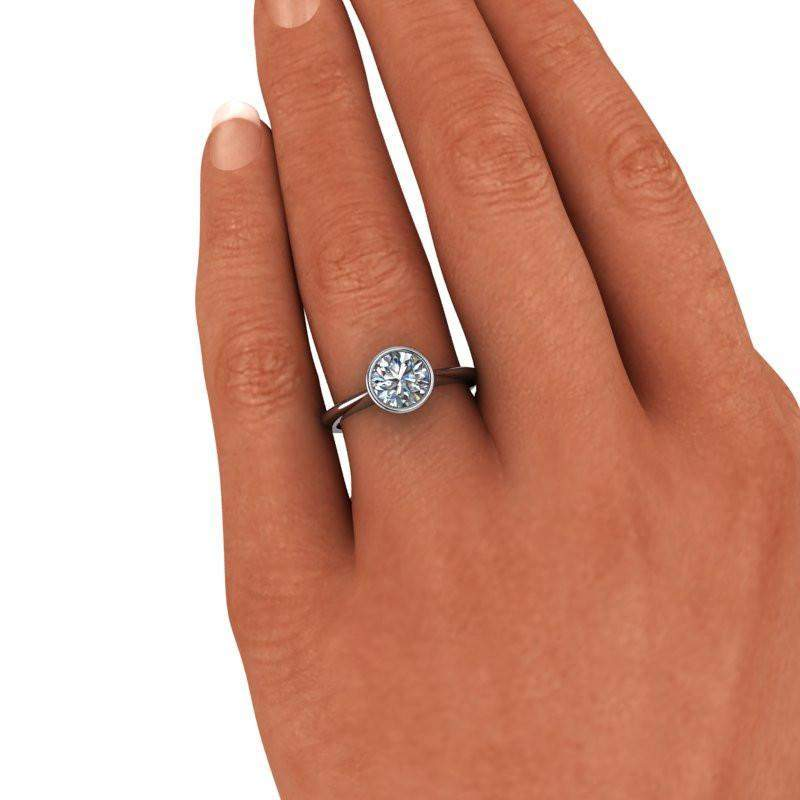 1.50 CTW Bezel Set Forever One Moissanite Solitaire Engagement Ring-BVD