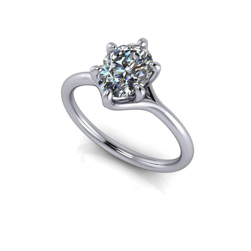 1.50 CTW Colorless Moissanite Oval Solitaire Engagement Ring-Bel Viaggio Designs