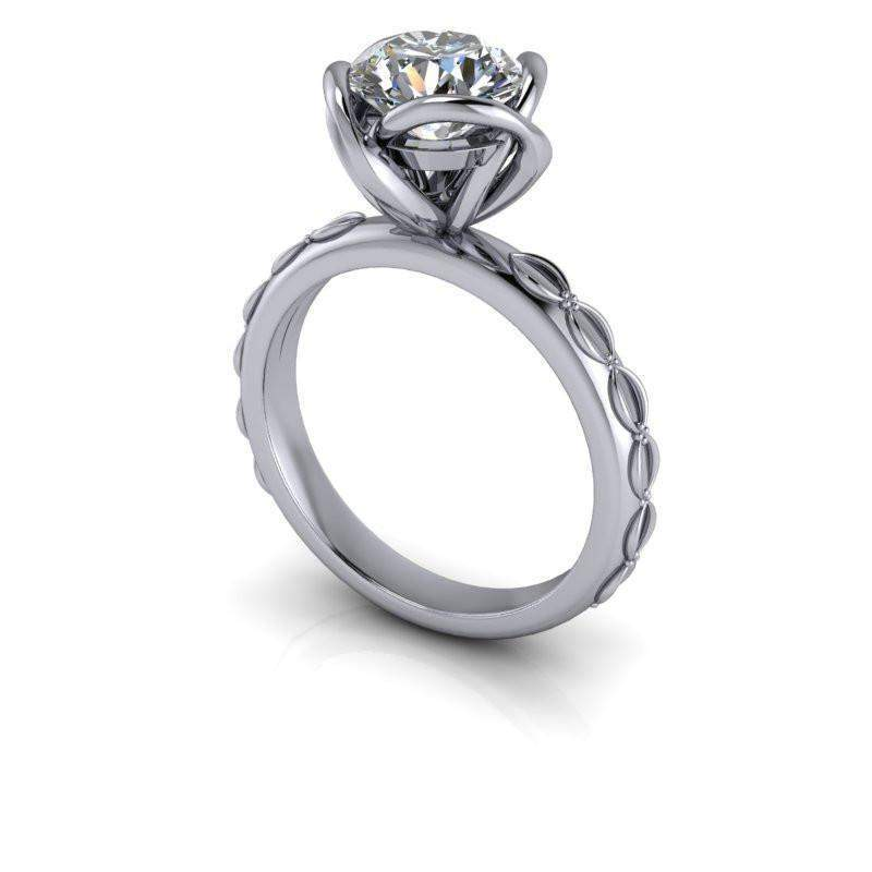 1.50 CTW Decorative Solitaire Moissanite Engagement Ring, Insieme Bridal Stackables®-Bel Viaggio Designs