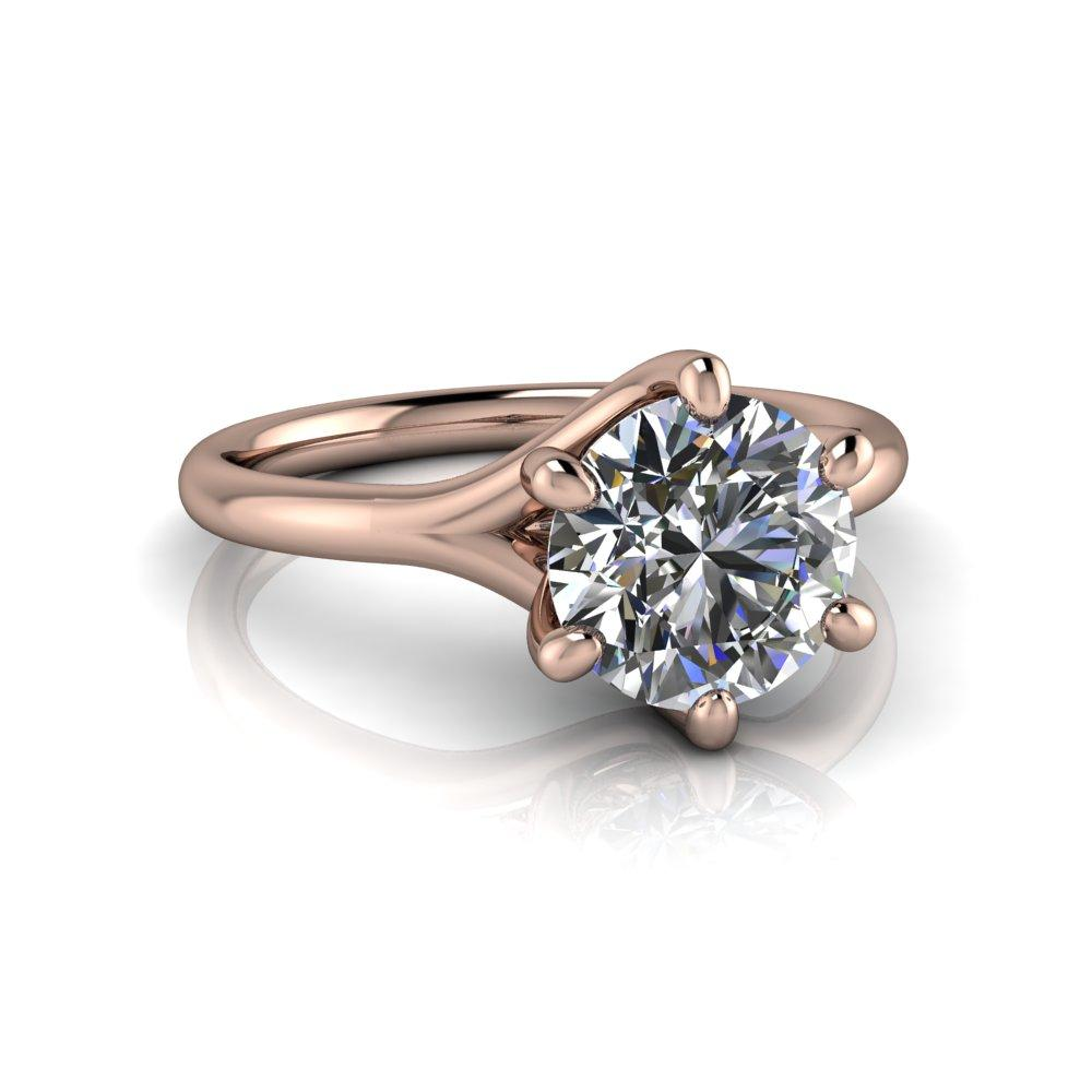 1.50 CTW Forever One Solitaire Woven Engagement Ring, Stone Options-Bel Viaggio Designs, LLC