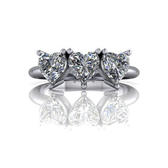 1.50 CTW Heart Shape Forever One Moissanite Three Stone Anniversary Ring-Bel Viaggio Designs, LLC