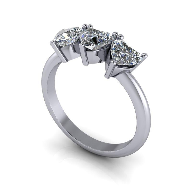1.50 CTW Heart Shape Forever One Moissanite Three Stone Anniversary Ring-BVD