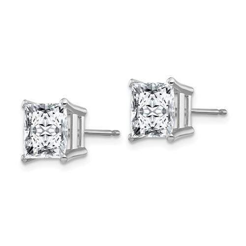 1.50 CTW Princess Cut Moissanite Stud Earrings - 14kt Gold Moissanite 4-Prong Basket Earrings-Bel Viaggio Designs