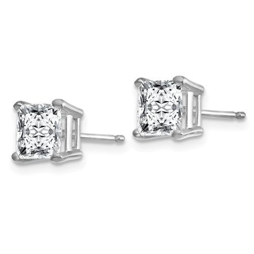 1.50 CTW Princess Cut Moissanite Stud Earrings, DEF Color-Bel Viaggio Designs